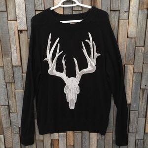 Mens Mossimo deer antler sweater large black white